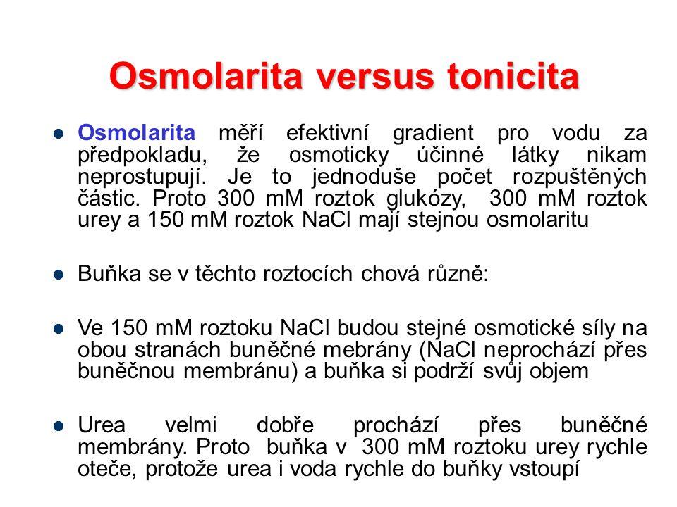 Osmolarita versus tonicita Osmolarita měří efektivní gradient pro vodu za předpokladu, že osmoticky účinné látky nikam neprostupují. Je to jednoduše p
