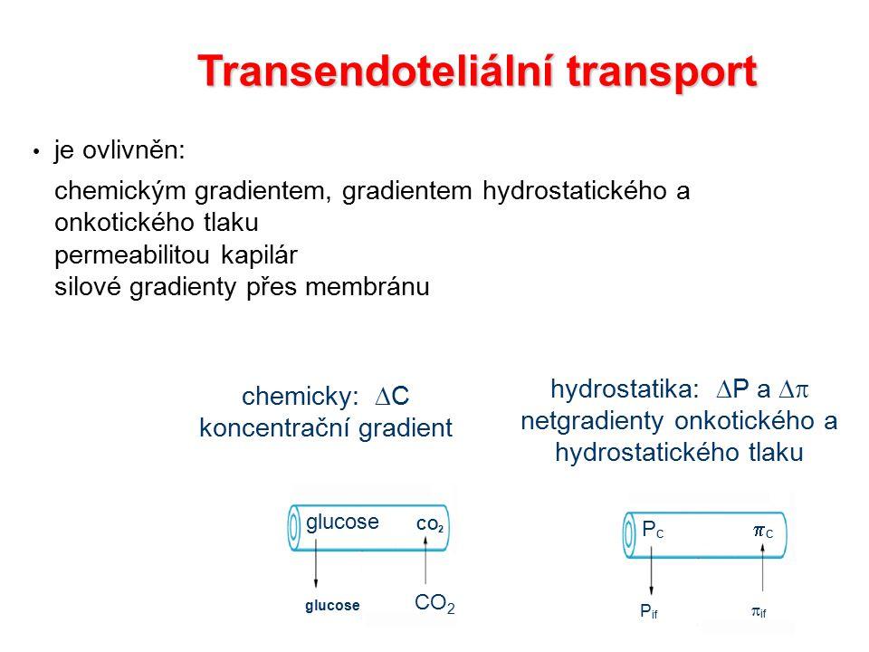 chemicky:  C koncentrační gradient Transendoteliální transport je ovlivněn: chemickým gradientem, gradientem hydrostatického a onkotického tlaku permeabilitou kapilár silové gradienty přes membránu PcPc P if cc  if glucose CO 2 hydrostatika:  P a  netgradienty onkotického a hydrostatického tlaku