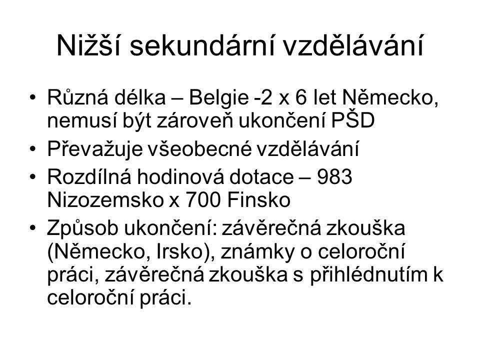 Nižší sekundární vzdělávání Různá délka – Belgie -2 x 6 let Německo, nemusí být zároveň ukončení PŠD Převažuje všeobecné vzdělávání Rozdílná hodinová dotace – 983 Nizozemsko x 700 Finsko Způsob ukončení: závěrečná zkouška (Německo, Irsko), známky o celoroční práci, závěrečná zkouška s přihlédnutím k celoroční práci.