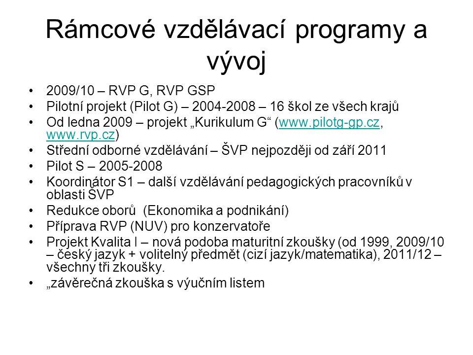 """Rámcové vzdělávací programy a vývoj 2009/10 – RVP G, RVP GSP Pilotní projekt (Pilot G) – 2004-2008 – 16 škol ze všech krajů Od ledna 2009 – projekt """"Kurikulum G (www.pilotg-gp.cz, www.rvp.cz)www.pilotg-gp.cz www.rvp.cz Střední odborné vzdělávání – ŠVP nejpozději od září 2011 Pilot S – 2005-2008 Koordinátor S1 – další vzdělávání pedagogických pracovníků v oblasti ŠVP Redukce oborů (Ekonomika a podnikání) Příprava RVP (NUV) pro konzervatoře Projekt Kvalita I – nová podoba maturitní zkoušky (od 1999, 2009/10 – český jazyk + volitelný předmět (cizí jazyk/matematika), 2011/12 – všechny tři zkoušky."""