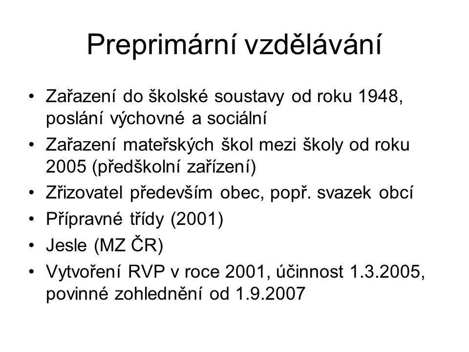 Preprimární vzdělávání Zařazení do školské soustavy od roku 1948, poslání výchovné a sociální Zařazení mateřských škol mezi školy od roku 2005 (předškolní zařízení) Zřizovatel především obec, popř.
