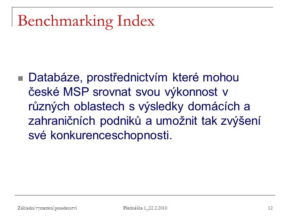Základní vymezení poradenství Přednáška 1_22.2.2010 12 Benchmarking Index Databáze, prostřednictvím které mohou české MSP srovnat svou výkonnost v růz