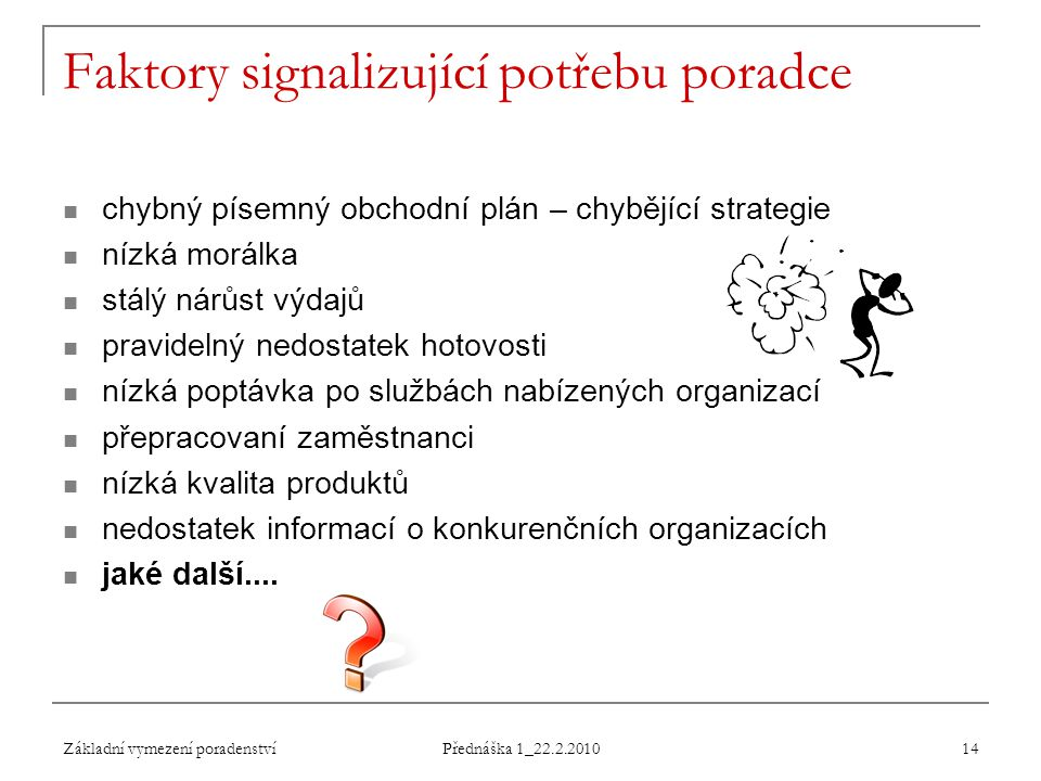 Základní vymezení poradenství Přednáška 1_22.2.2010 14 Faktory signalizující potřebu poradce chybný písemný obchodní plán – chybějící strategie nízká