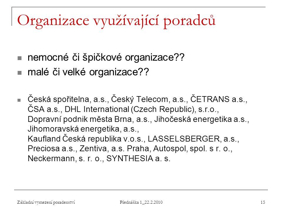 Základní vymezení poradenství Přednáška 1_22.2.2010 15 Organizace využívající poradců nemocné či špičkové organizace?? malé či velké organizace?? Česk