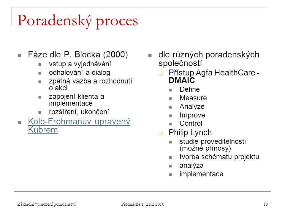 Základní vymezení poradenství Přednáška 1_22.2.2010 18 Poradenský proces Fáze dle P. Blocka (2000) vstup a vyjednávání odhalování a dialog zpětná vazb