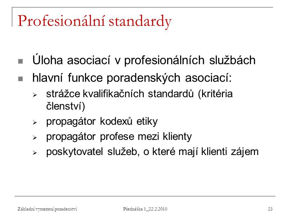 Základní vymezení poradenství Přednáška 1_22.2.2010 23 Profesionální standardy Úloha asociací v profesionálních službách hlavní funkce poradenských as