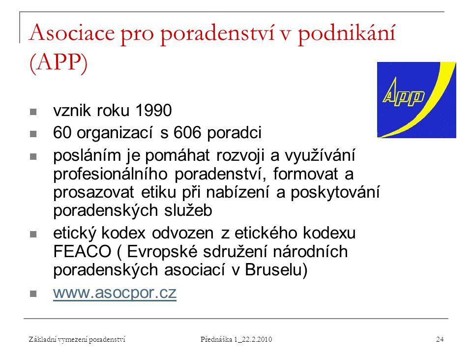 Základní vymezení poradenství Přednáška 1_22.2.2010 24 Asociace pro poradenství v podnikání (APP) vznik roku 1990 60 organizací s 606 poradci posláním