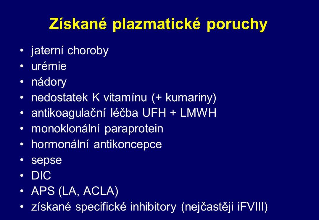 Získané plazmatické poruchy jaterní choroby urémie nádory nedostatek K vitamínu (+ kumariny) antikoagulační léčba UFH + LMWH monoklonální paraprotein