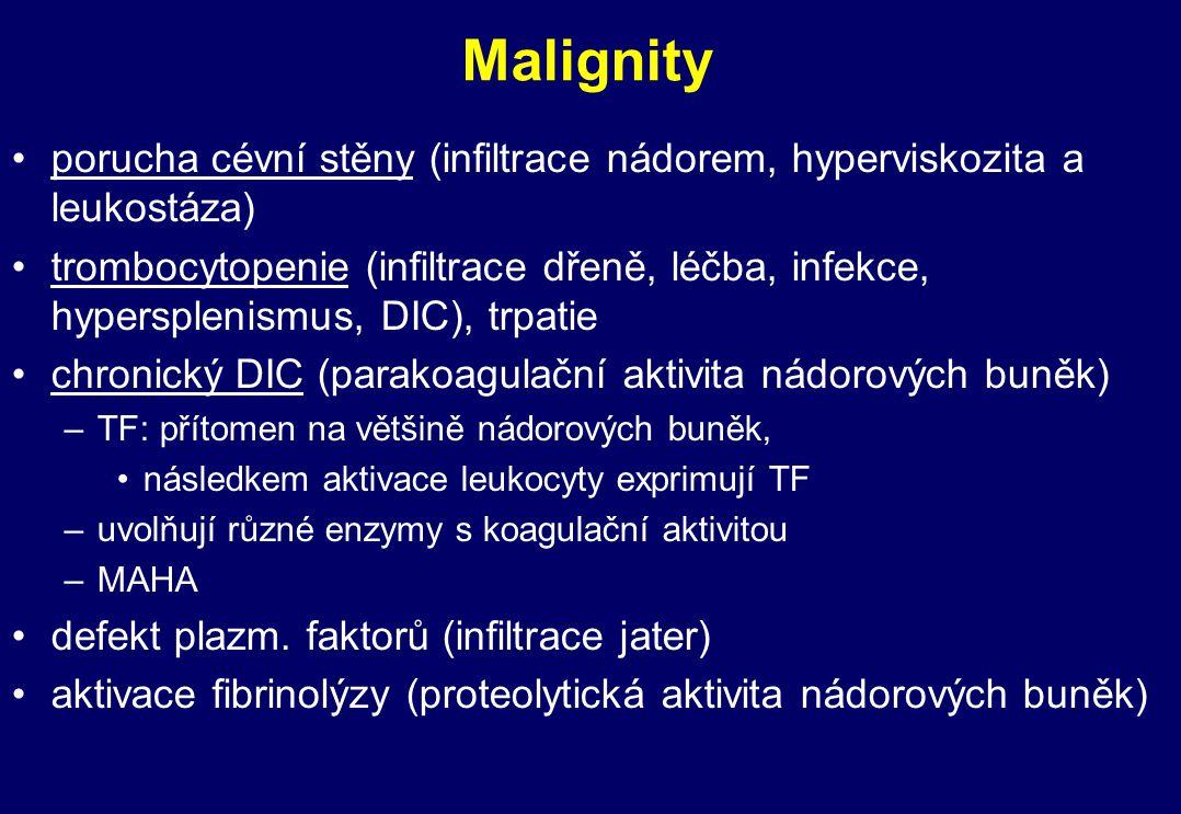 Malignity porucha cévní stěny (infiltrace nádorem, hyperviskozita a leukostáza) trombocytopenie (infiltrace dřeně, léčba, infekce, hypersplenismus, DI