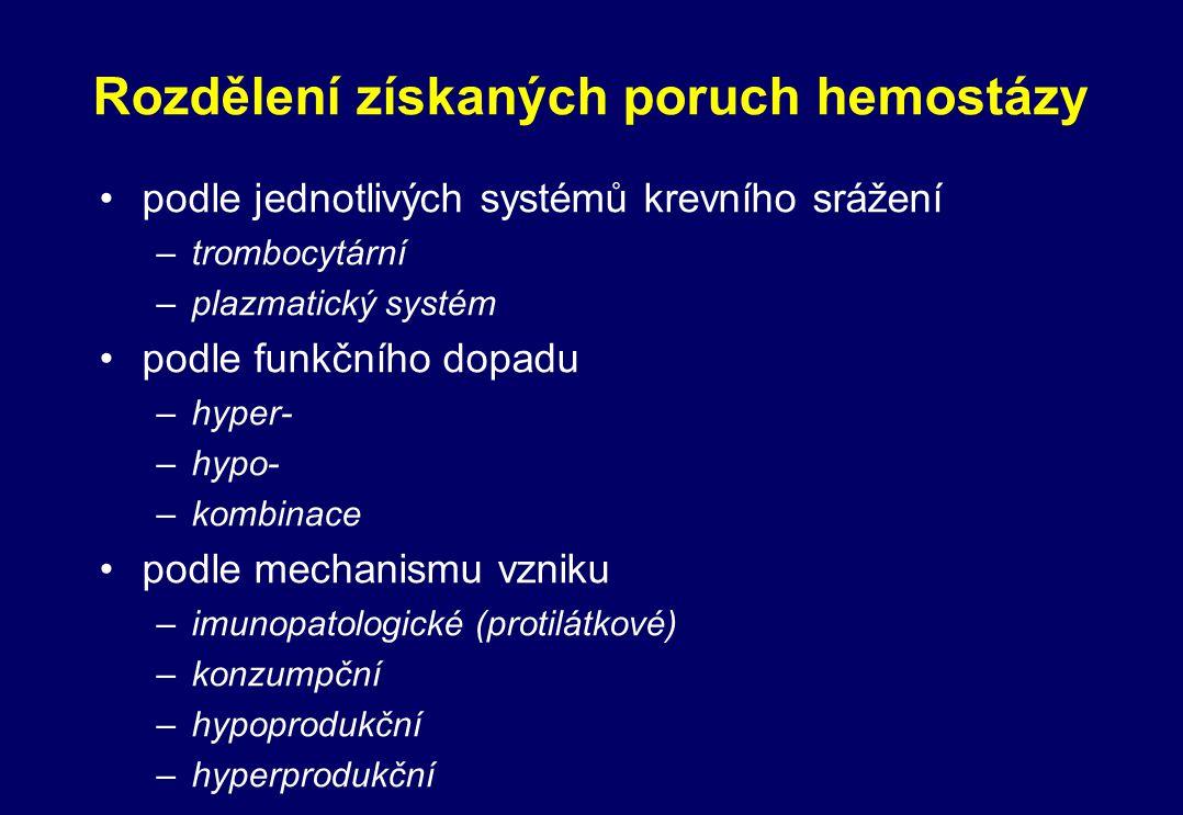 Rozdělení získaných poruch hemostázy podle jednotlivých systémů krevního srážení –trombocytární –plazmatický systém podle funkčního dopadu –hyper- –hy