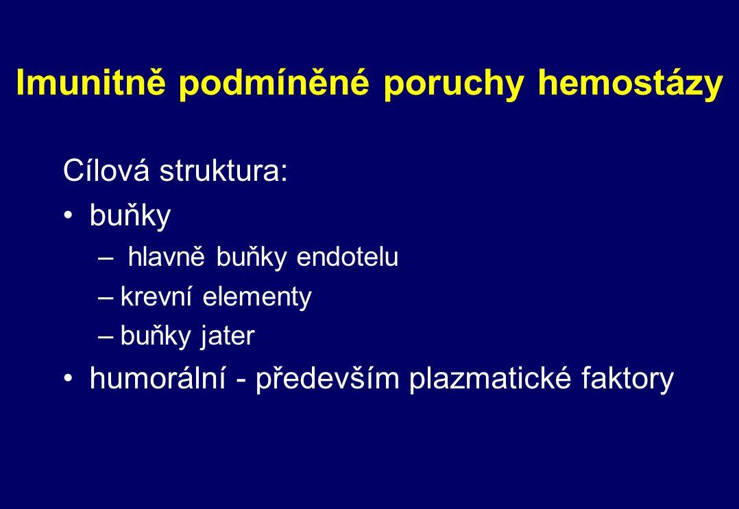 Imunitně podmíněné poruchy hemostázy Cílová struktura: buňky – hlavně buňky endotelu –krevní elementy –buňky jater humorální - především plazmatické f