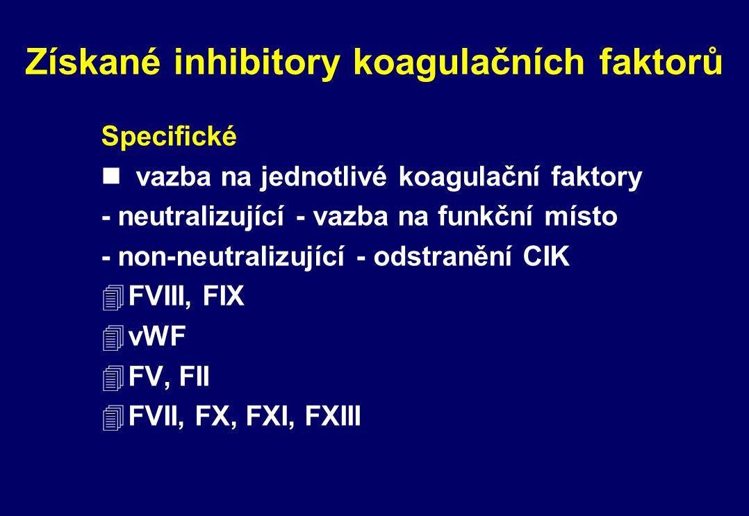 Získané inhibitory koagulačních faktorů Specifické n vazba na jednotlivé koagulační faktory - neutralizující - vazba na funkční místo - non-neutralizu