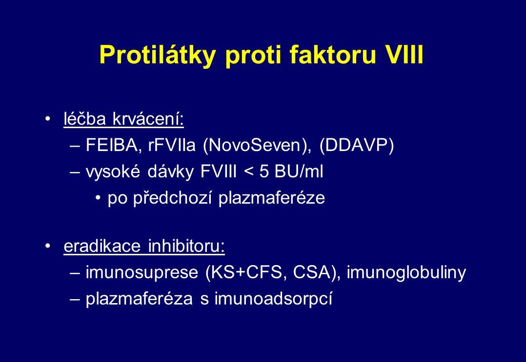Protilátky proti faktoru VIII léčba krvácení: –FEIBA, rFVIIa (NovoSeven), (DDAVP) –vysoké dávky FVIII < 5 BU/ml po předchozí plazmaferéze eradikace in