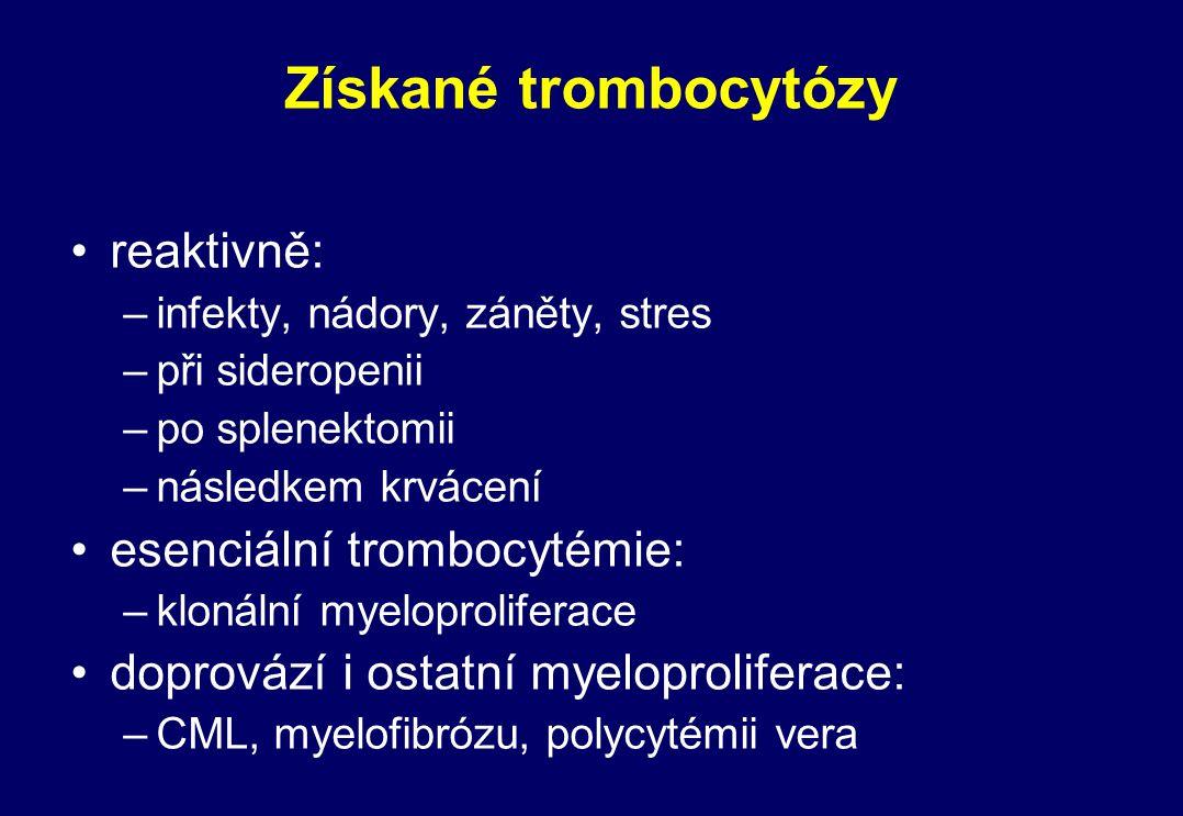 Získané trombocytózy reaktivně: –infekty, nádory, záněty, stres –při sideropenii –po splenektomii –následkem krvácení esenciální trombocytémie: –kloná
