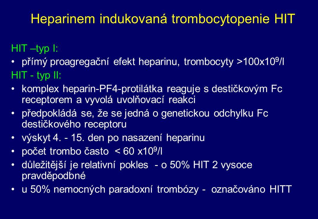 HIT - typ 2 – diagnostika a léčba laboratorně (+ klinicky vyloučení jiné příčiny, event.