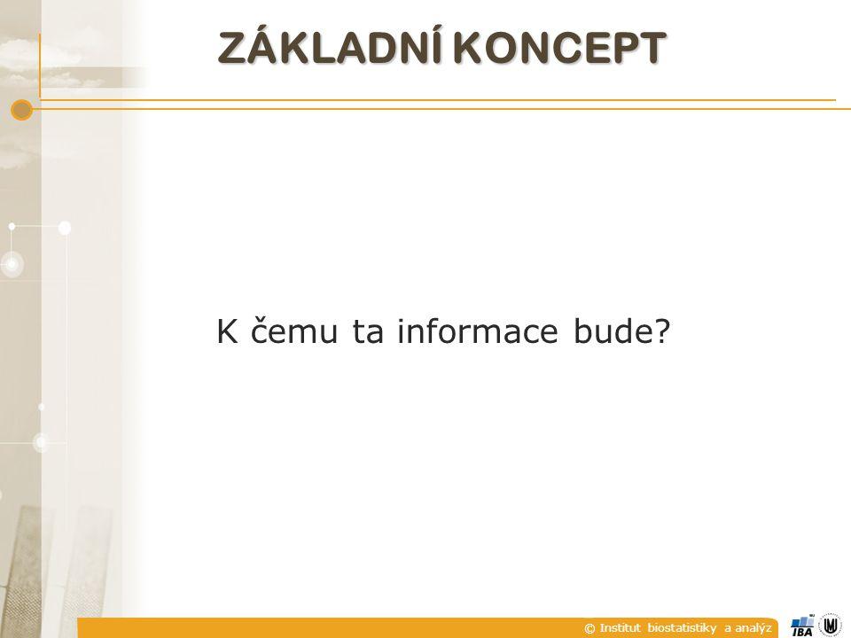 © Institut biostatistiky a analýz K čemu ta informace bude ZÁKLADNÍ KONCEPT