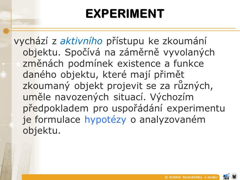 © Institut biostatistiky a analýz vychází z aktivního přístupu ke zkoumání objektu.