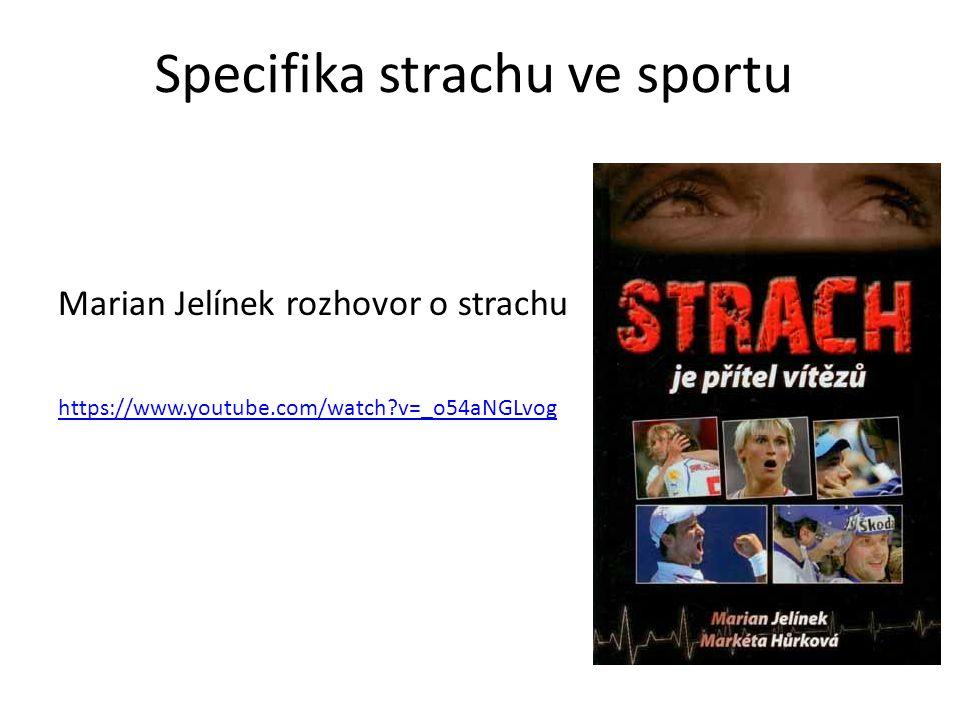 Specifika strachu ve sportu Marian Jelínek rozhovor o strachu https://www.youtube.com/watch?v=_o54aNGLvog