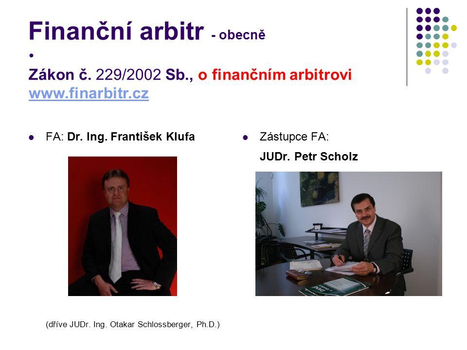 Finanční arbitr - obecně FA: Dr. Ing. František Klufa (dříve JUDr. Ing. Otakar Schlossberger, Ph.D.) Zástupce FA: JUDr. Petr Scholz Zákon č. 229/2002