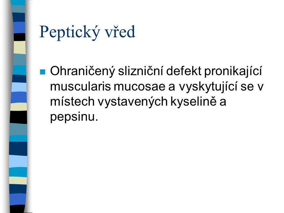 Peptický vřed n Ohraničený slizniční defekt pronikající muscularis mucosae a vyskytující se v místech vystavených kyselině a pepsinu.