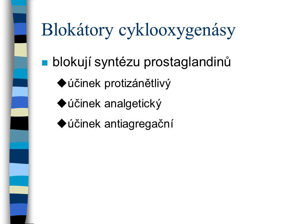 Blokátory cyklooxygenásy n blokují syntézu prostaglandinů uúčinek protizánětlivý uúčinek analgetický uúčinek antiagregační