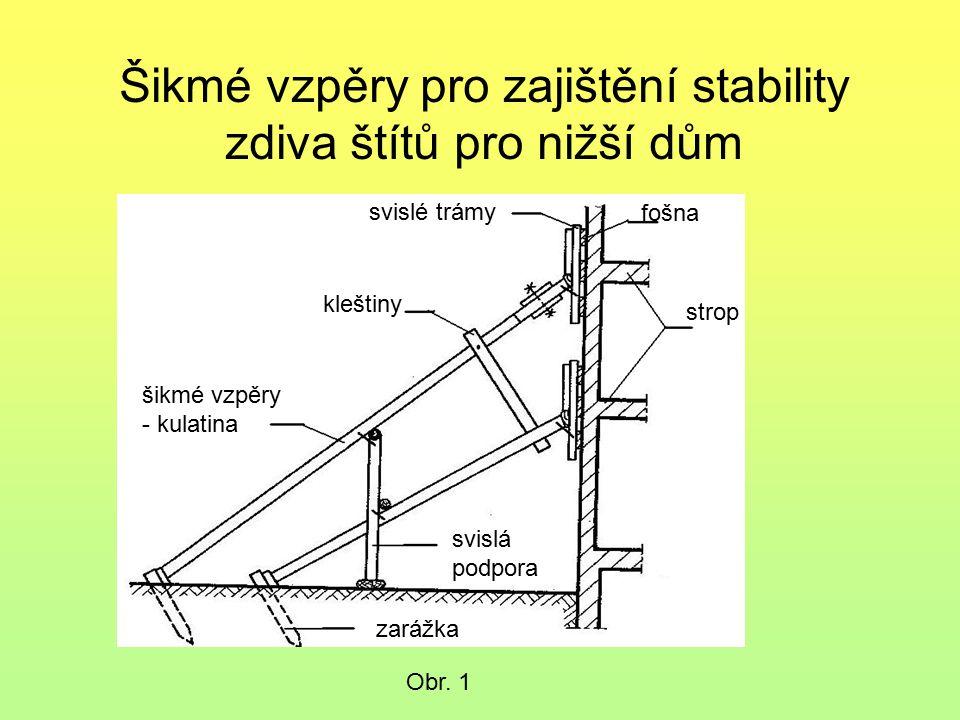 Šikmé vzpěry pro zajištění stability zdiva štítů pro nižší dům. Obr. 1 fošna strop svislé trámy kleštiny šikmé vzpěry - kulatina svislá podpora zarážk