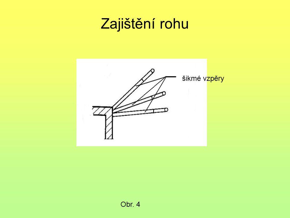 Podkladní trámy u šikmých vzpěr Podkladní trámy u šikmých vzpěr přenášejí svislé a šikmé zatížení a proto musíme znát únosnost podkladů na nichž stojí.