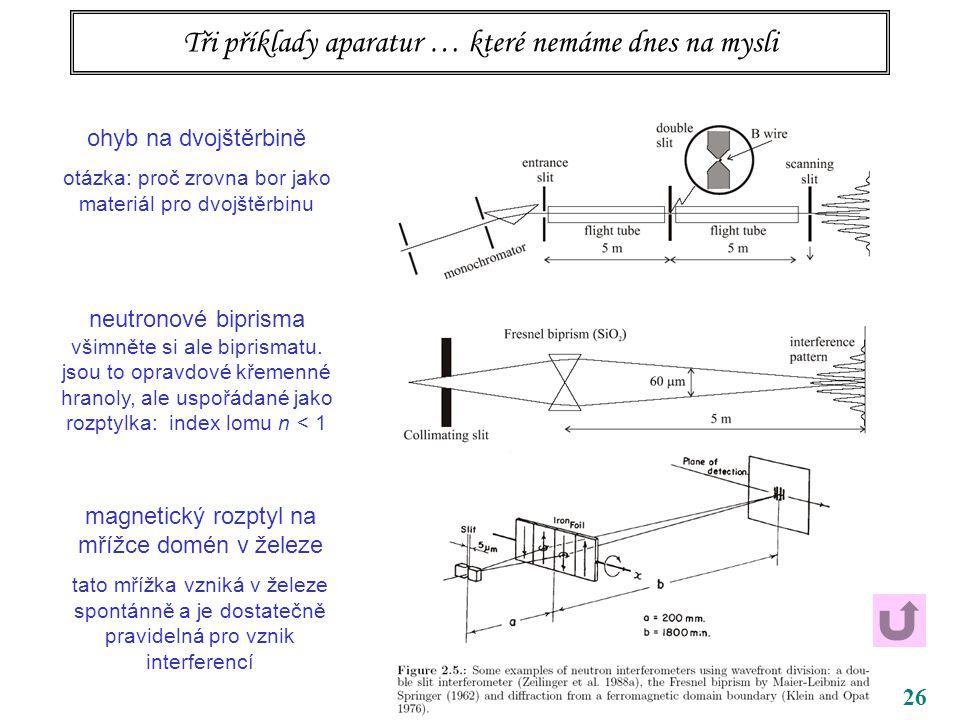 26 Tři příklady aparatur … které nemáme dnes na mysli ohyb na dvojštěrbině otázka: proč zrovna bor jako materiál pro dvojštěrbinu neutronové biprisma