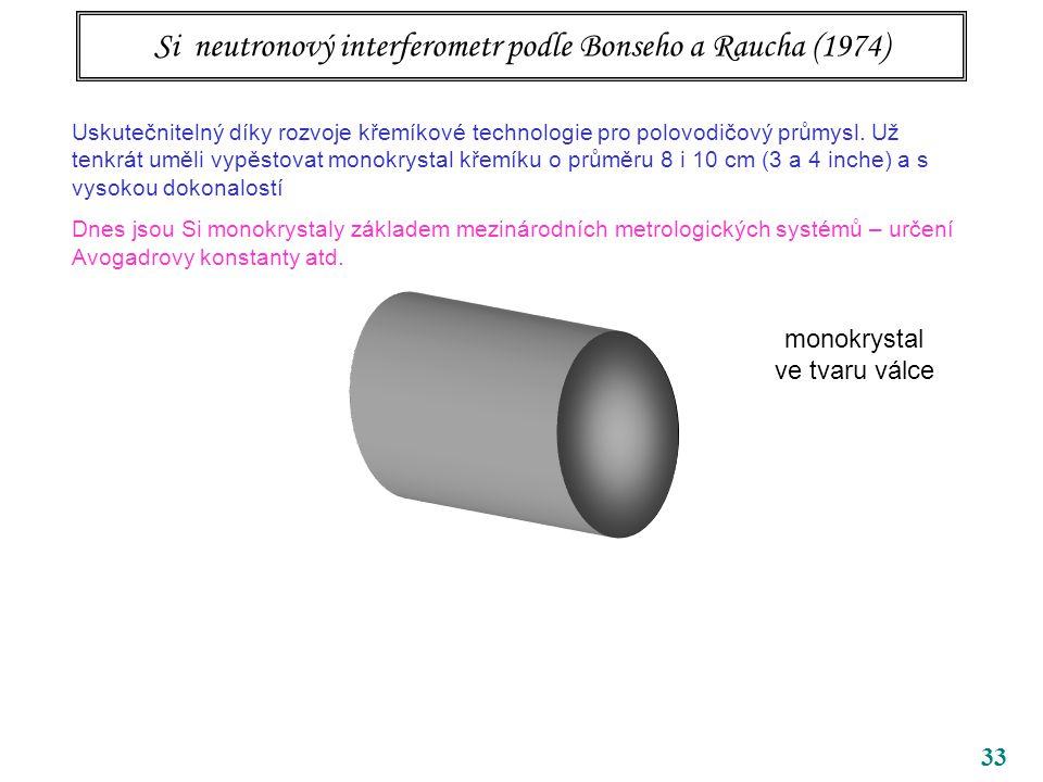33 Si neutronový interferometr podle Bonseho a Raucha (1974) Uskutečnitelný díky rozvoje křemíkové technologie pro polovodičový průmysl. Už tenkrát um