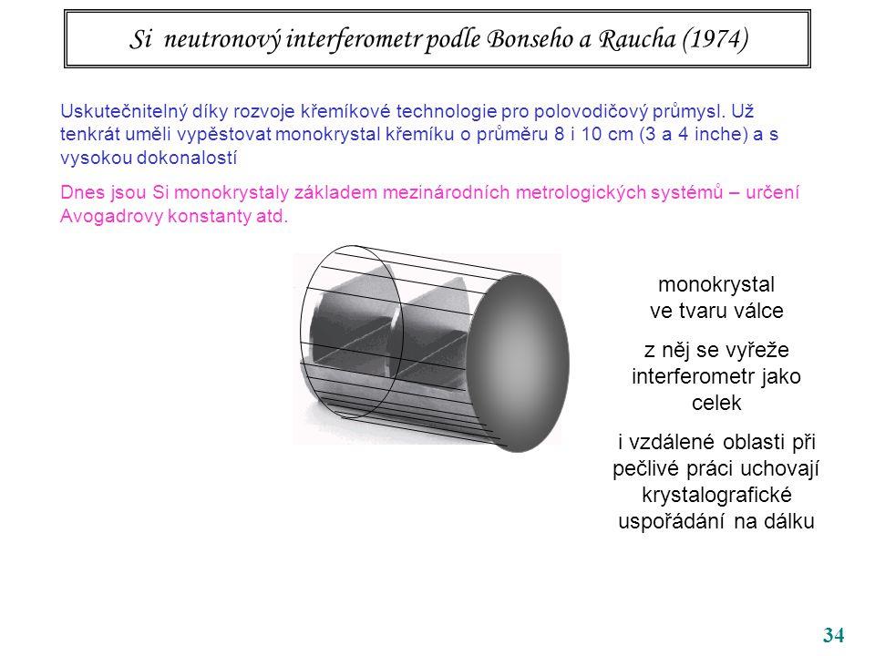 34 Si neutronový interferometr podle Bonseho a Raucha (1974) Uskutečnitelný díky rozvoje křemíkové technologie pro polovodičový průmysl. Už tenkrát um