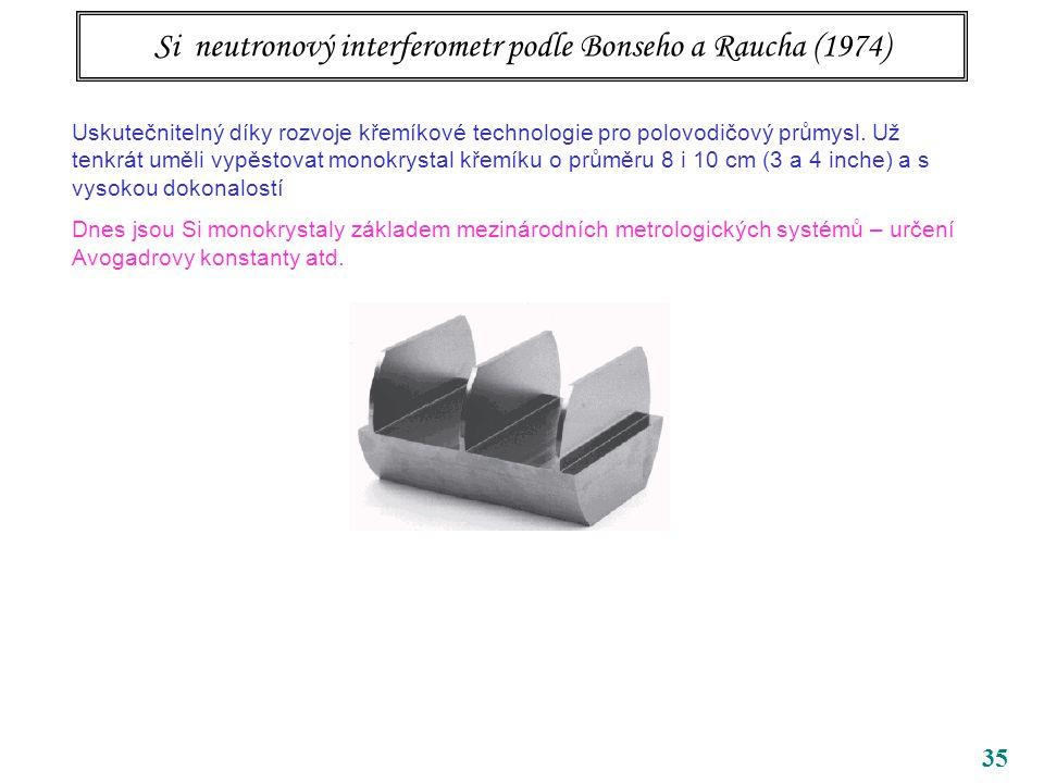 35 Si neutronový interferometr podle Bonseho a Raucha (1974) Uskutečnitelný díky rozvoje křemíkové technologie pro polovodičový průmysl. Už tenkrát um
