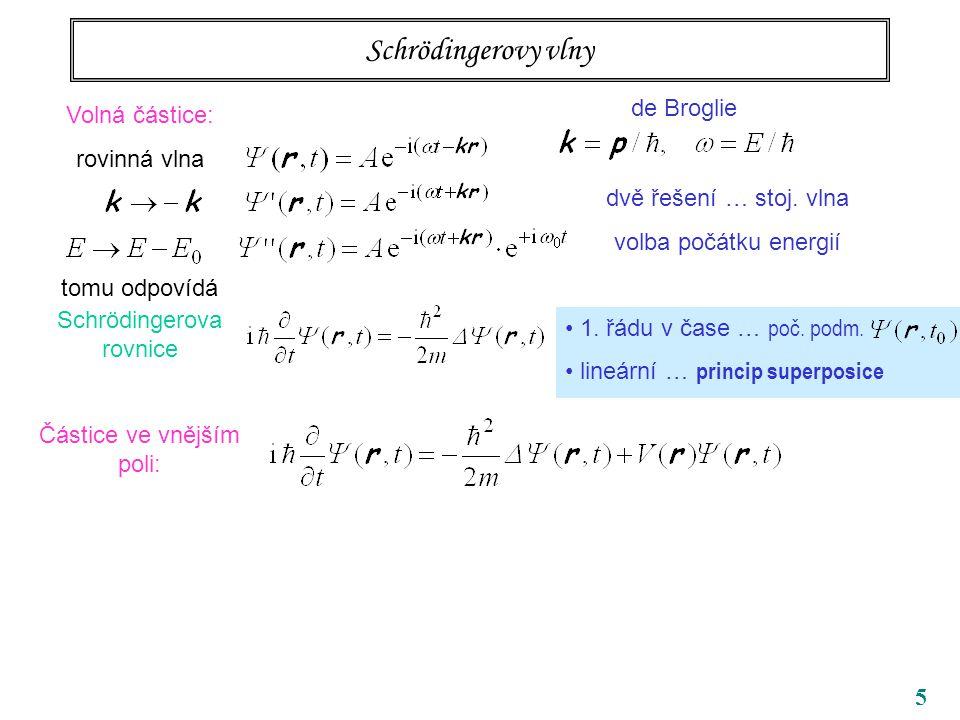 5 Schrödingerovy vlny Volná částice: rovinná vlna tomu odpovídá Schrödingerova rovnice Částice ve vnějším poli: stacionární řešení de Broglie dvě řeše
