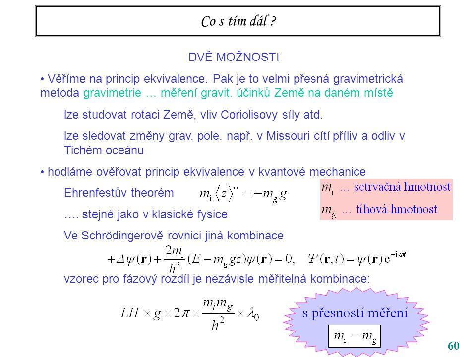 60 Co s tím dál ? DVĚ MOŽNOSTI Věříme na princip ekvivalence. Pak je to velmi přesná gravimetrická metoda gravimetrie … měření gravit. účinků Země na