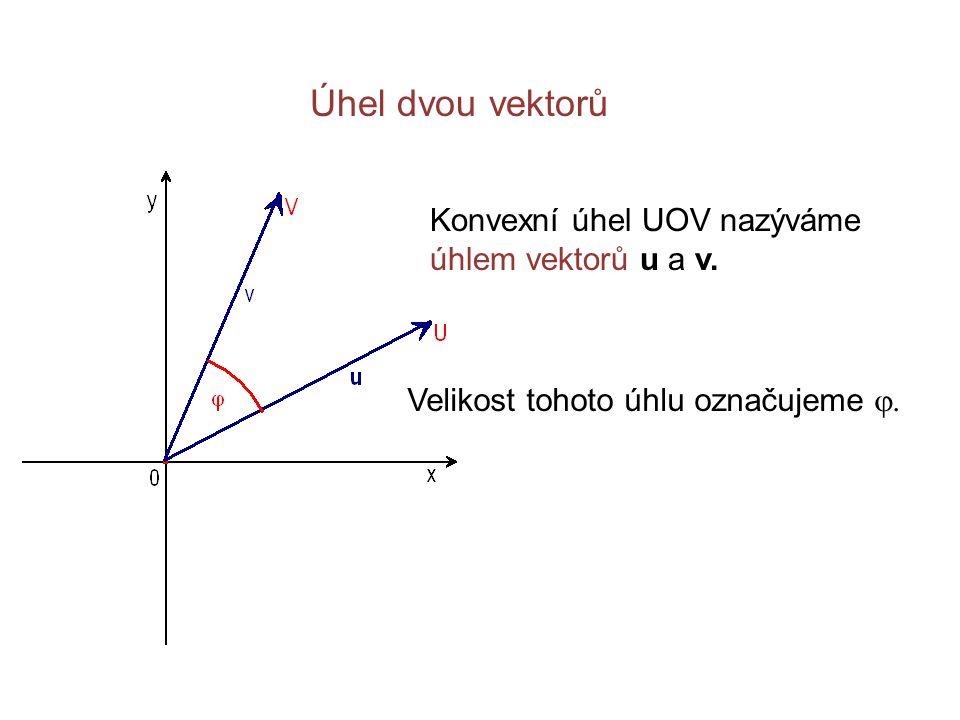 Úhel dvou vektorů Konvexní úhel UOV nazýváme úhlem vektorů u a v. Velikost tohoto úhlu označujeme 