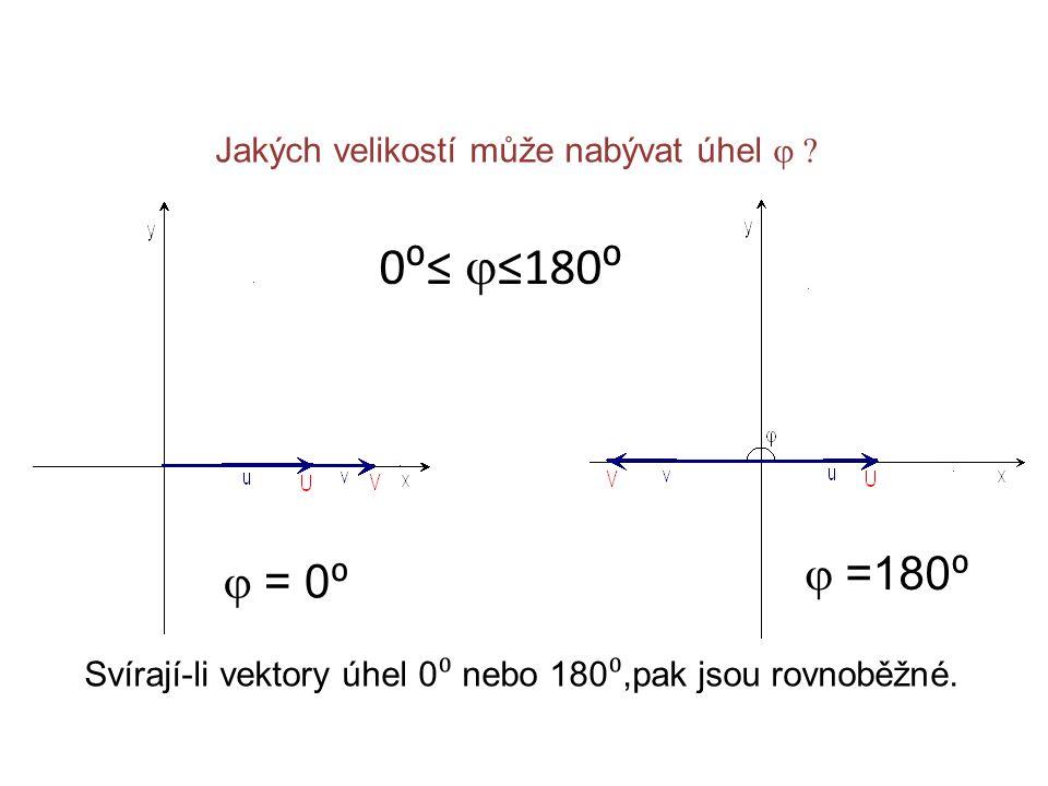 Jakých velikostí může nabývat úhel  0⁰≤  ≤180⁰  = 0 ⁰  =180 ⁰ Svírají-li vektory úhel 0 ⁰ nebo 180 ⁰,pak jsou rovnoběžné.