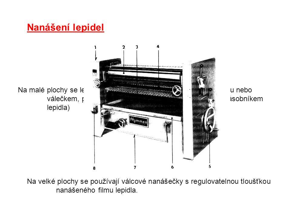 Nanášení lepidel Na malé plochy se lepidlo nanáší ručně štětcem, kartáčem, stěrkou nebo válečkem, případně ruční válečkovou nanášečkou. (se zásobníkem