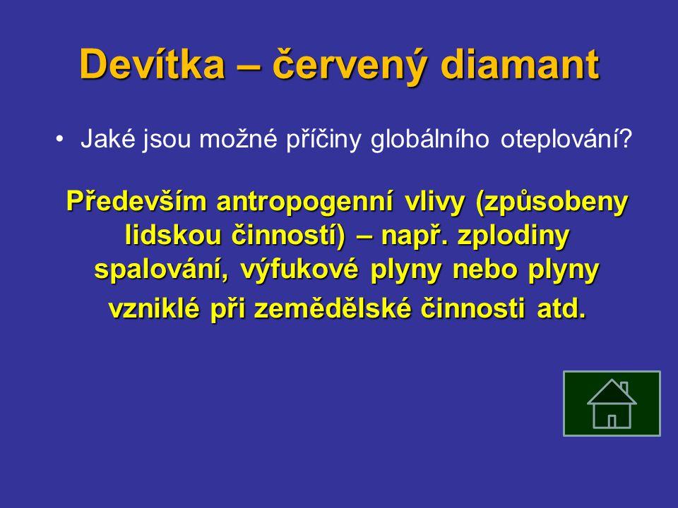 Devítka – červený diamant Jaké jsou možné příčiny globálního oteplování.