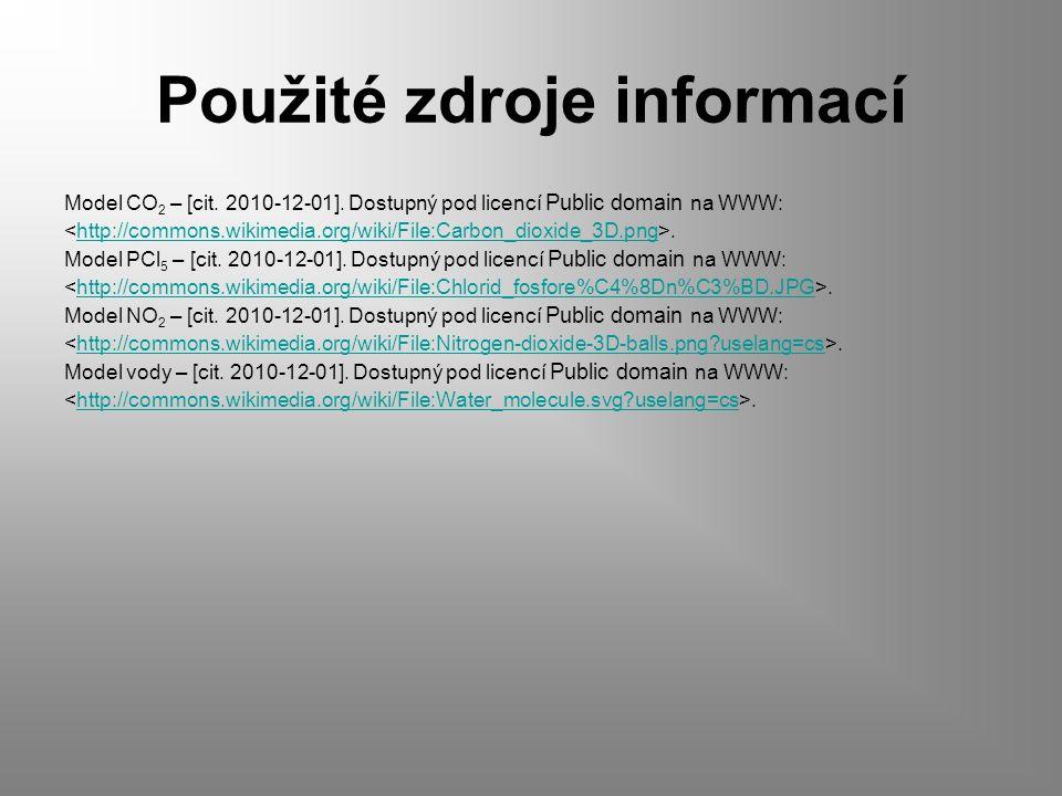 Použité zdroje informací Model CO 2 – [cit. 2010-12-01].