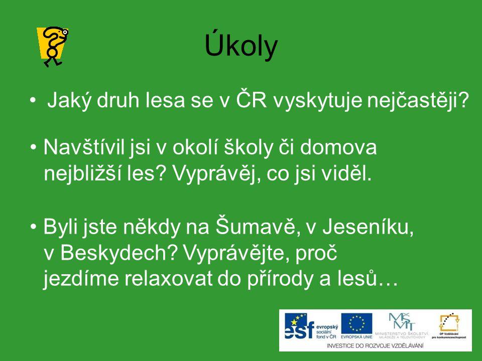 Úkoly Jaký druh lesa se v ČR vyskytuje nejčastěji.