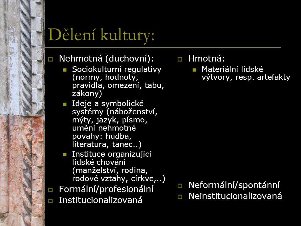 Dělení kultury:  Nehmotná (duchovní): Sociokulturní regulativy (normy, hodnoty, pravidla, omezení, tabu, zákony) Ideje a symbolické systémy (nábožens