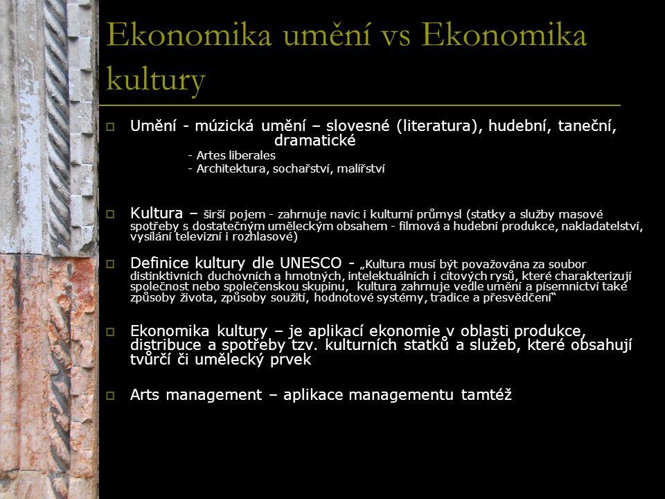 Ekonomika umění vs Ekonomika kultury  Umění - múzická umění – slovesné (literatura), hudební, taneční, dramatické - Artes liberales - Architektura, s