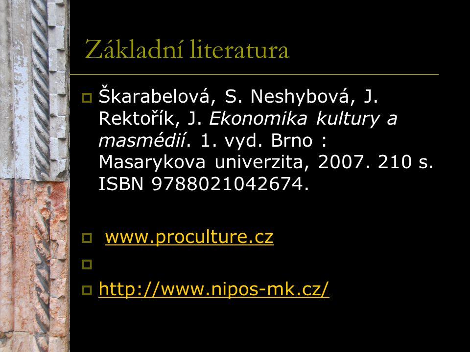 Základní literatura  Škarabelová, S. Neshybová, J. Rektořík, J. Ekonomika kultury a masmédií. 1. vyd. Brno : Masarykova univerzita, 2007. 210 s. ISBN