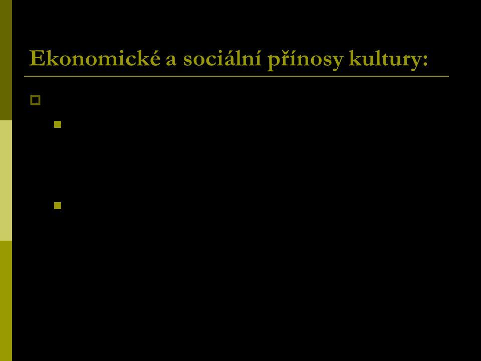 Ekonomické a sociální přínosy kultury:  Budování lidského kapitálu: Participace na kultuře jako faktor vzdělání a růstu produktivity pracovní síly. V