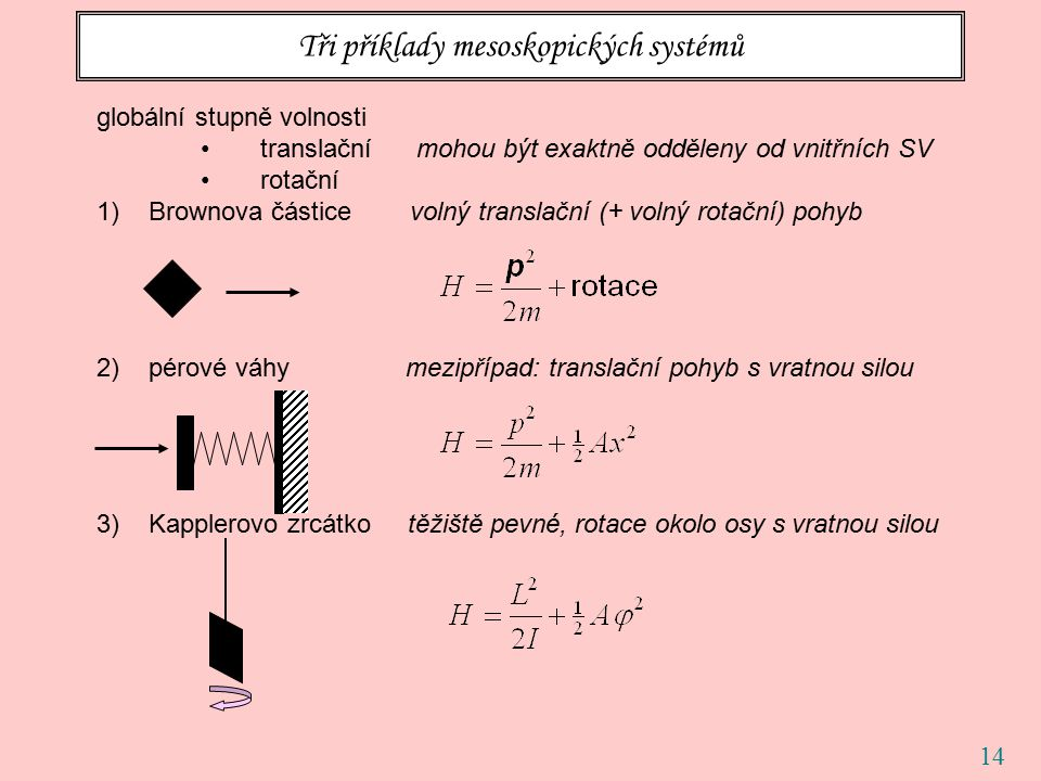 14 Tři příklady mesoskopických systémů globální stupně volnosti translační mohou být exaktně odděleny od vnitřních SV rotační 1)Brownova částice volný translační (+ volný rotační) pohyb 2)pérové váhy mezipřípad: translační pohyb s vratnou silou 3)Kapplerovo zrcátko těžiště pevné, rotace okolo osy s vratnou silou