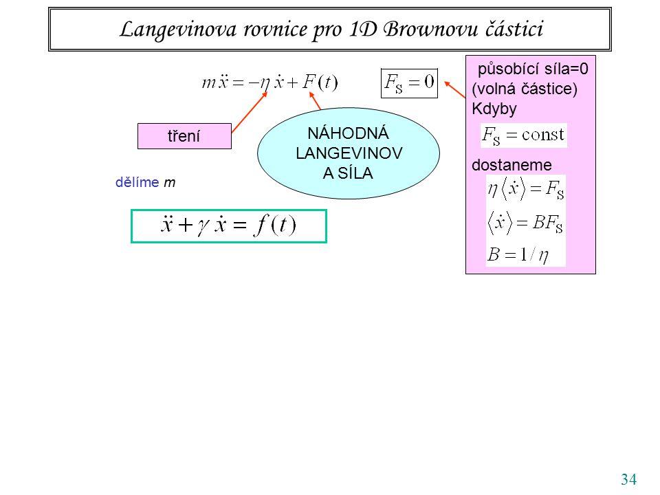 34 Langevinova rovnice pro 1D Brownovu částici tření působící síla=0 (volná částice) Kdyby dostaneme NÁHODNÁ LANGEVINOV A SÍLA dělíme m