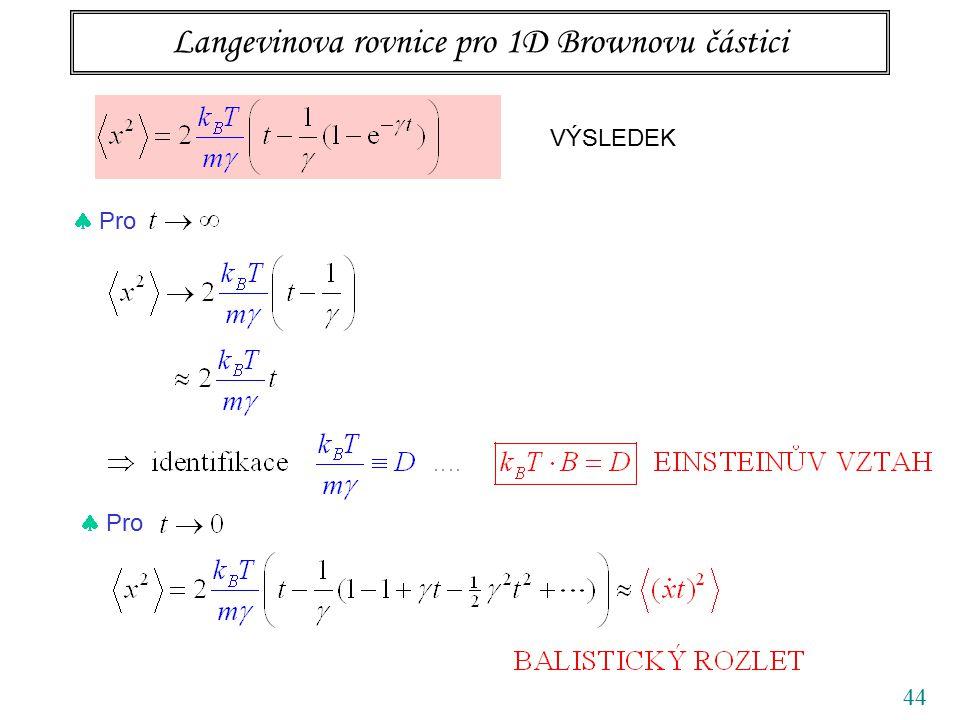 44 Langevinova rovnice pro 1D Brownovu částici VÝSLEDEK  Pro
