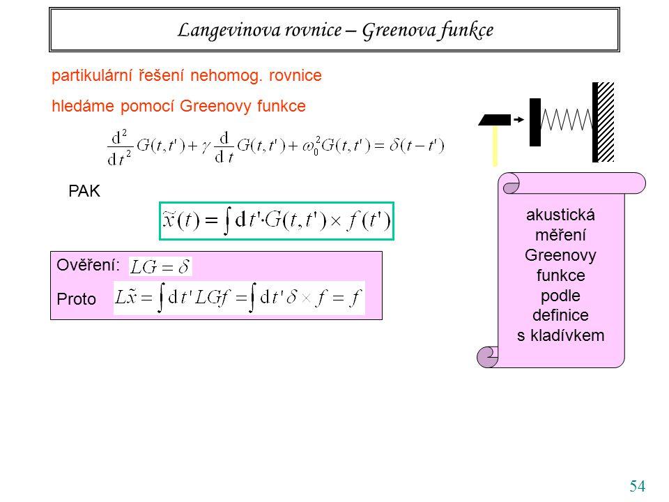 54 Langevinova rovnice – Greenova funkce partikulární řešení nehomog. rovnice hledáme pomocí Greenovy funkce PAK Ověření: Proto akustická měření Green