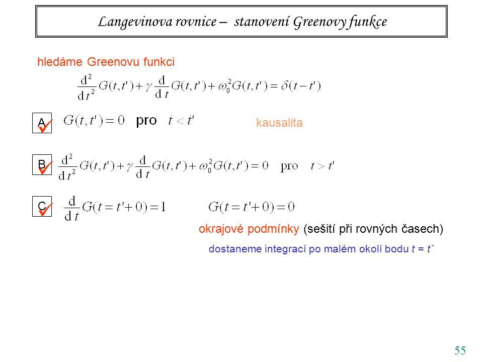 55 Langevinova rovnice – stanovení Greenovy funkce hledáme Greenovu funkci A kausalita B C okrajové podmínky (sešití při rovných časech) dostaneme integrací po malém okolí bodu t = t´