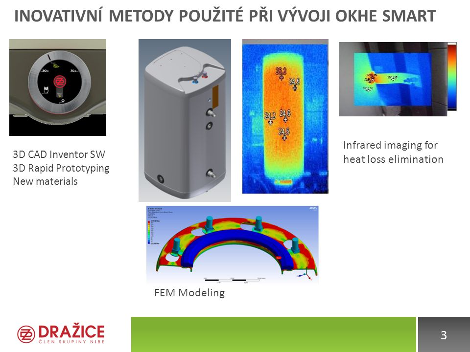 INOVATIVNÍ METODY POUŽITÉ PŘI VÝVOJI OKHE SMART 3 Infrared imaging for heat loss elimination FEM Modeling 3D CAD Inventor SW 3D Rapid Prototyping New