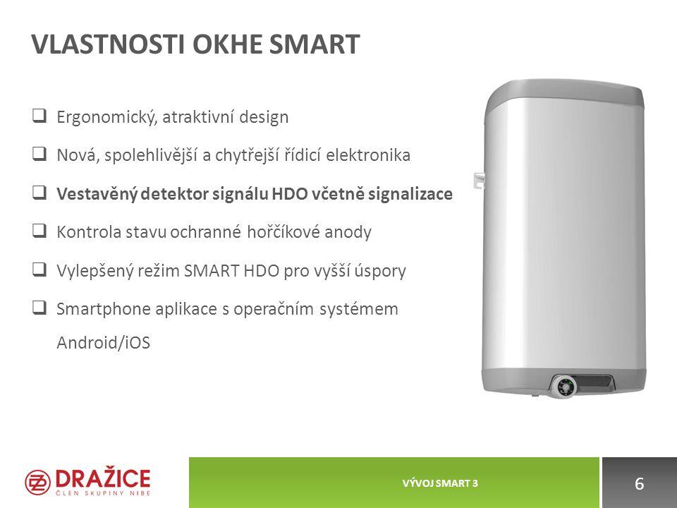 VLASTNOSTI OKHE SMART  Ergonomický, atraktivní design  Nová, spolehlivější a chytřejší řídicí elektronika  Vestavěný detektor signálu HDO včetně si